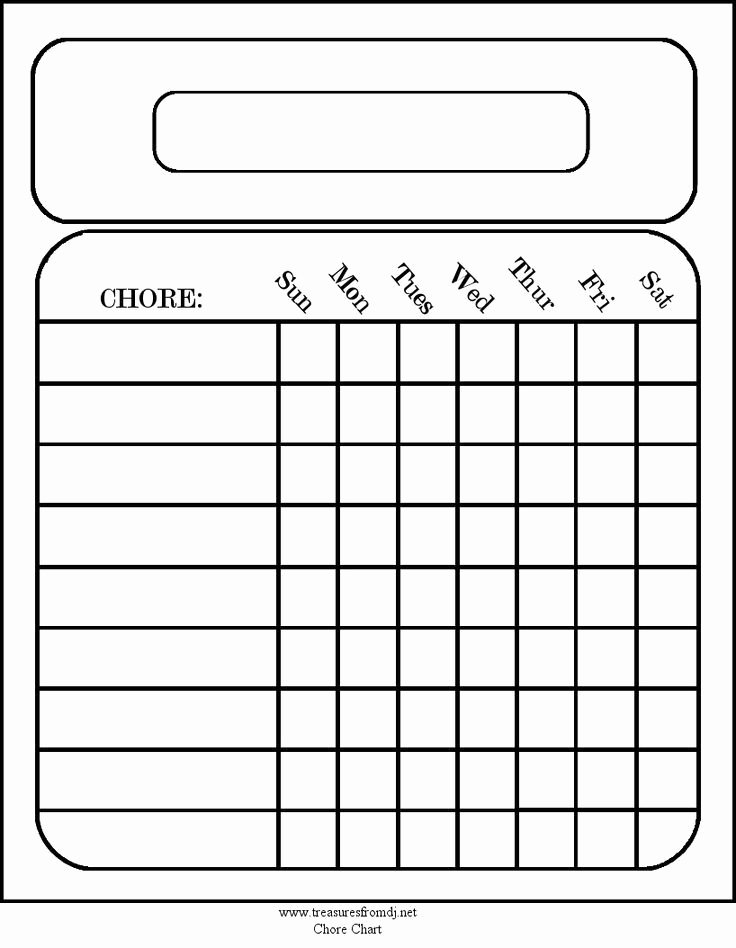 Free Blank Chart Templates Inspirational Free Blank Chore Charts Templates