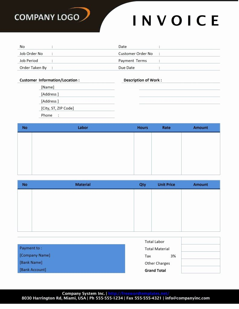 Free Blank Invoice Awesome Free Invoice Template Sample Invoice format