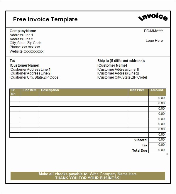 Free Blank Invoice Lovely Free 47 Sample Blank Invoice Templates In Word
