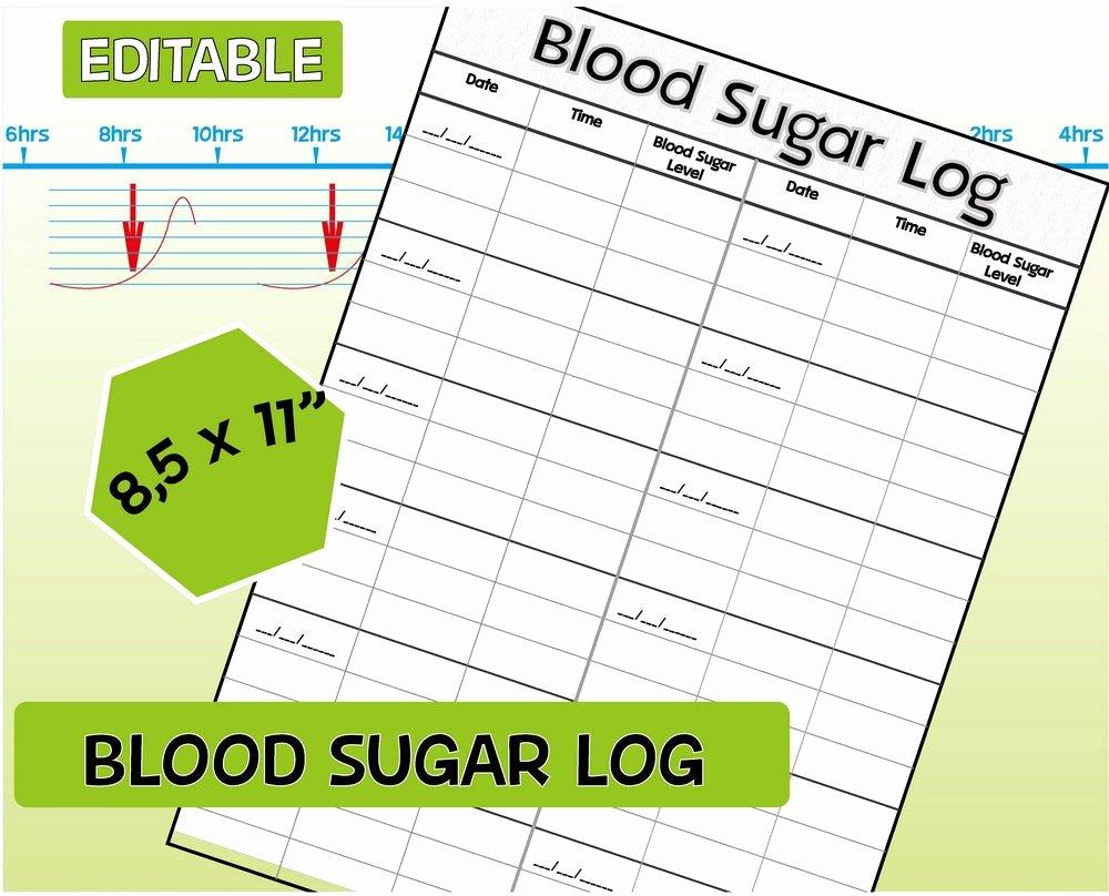 Free Blood Sugar Log Fresh Blood Sugar Log Diabetic Log Editable Blood Sugar Tracker