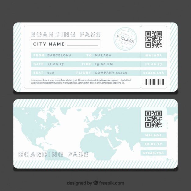 Free Boarding Pass Template Awesome Striped Boarding Pass Template with Blue World Map Vector
