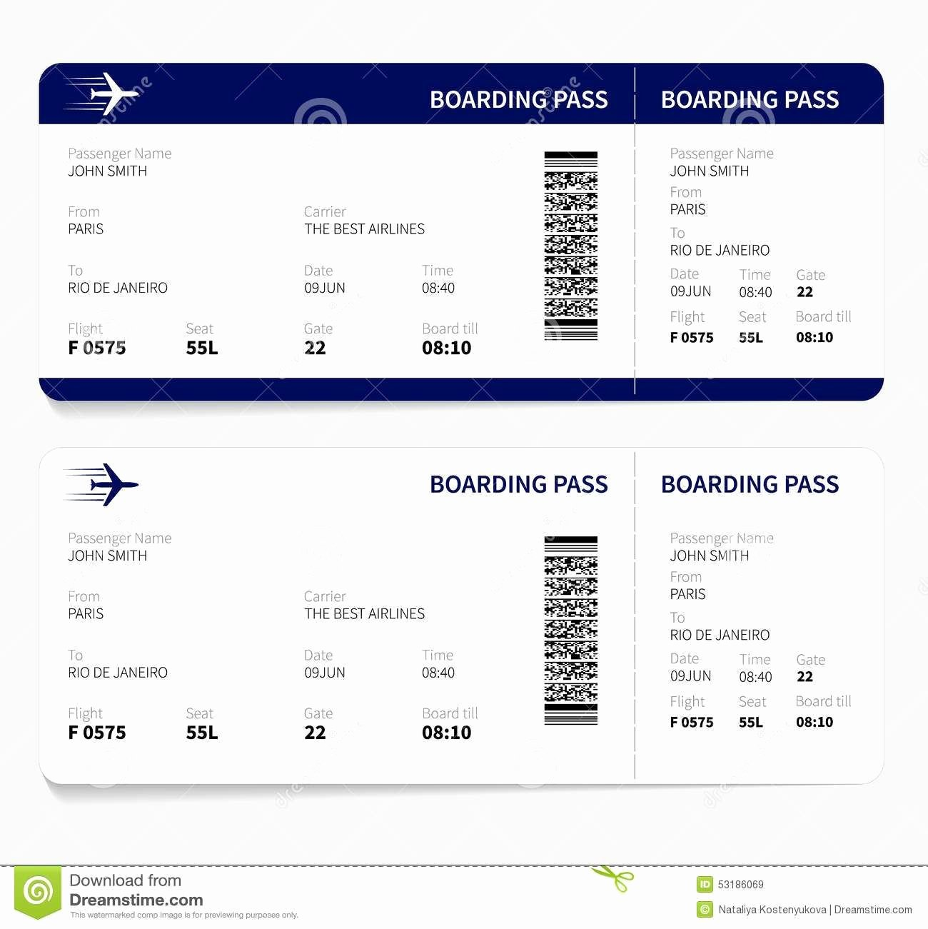Free Boarding Pass Template Beautiful Airline Ticket Template Free Sample Customer Service