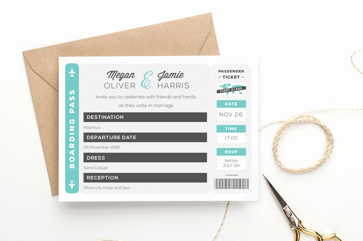 Free Boarding Pass Template Beautiful Boarding Pass Wedding Invitation Invitation Templates On