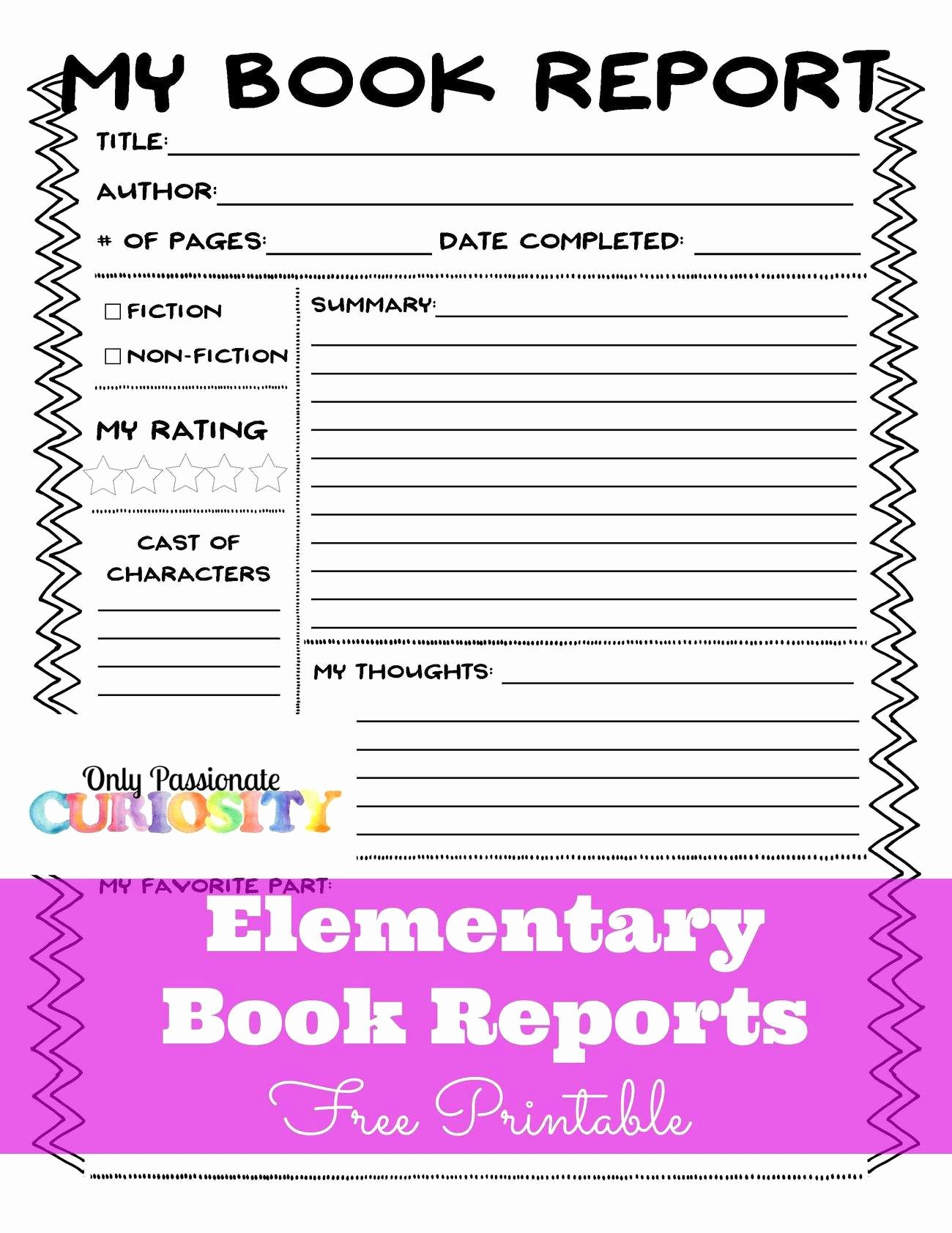 Free Book Report forms Best Of Elementary Book Reports Made Easy Ly Passionate Curiosity
