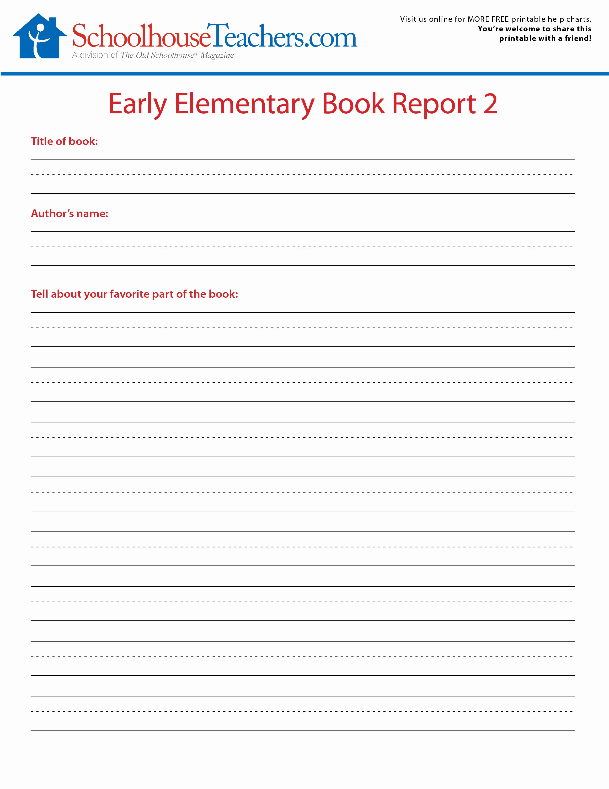 Free Book Report forms Fresh 2 Free Elementary School Book Report Print Out forms
