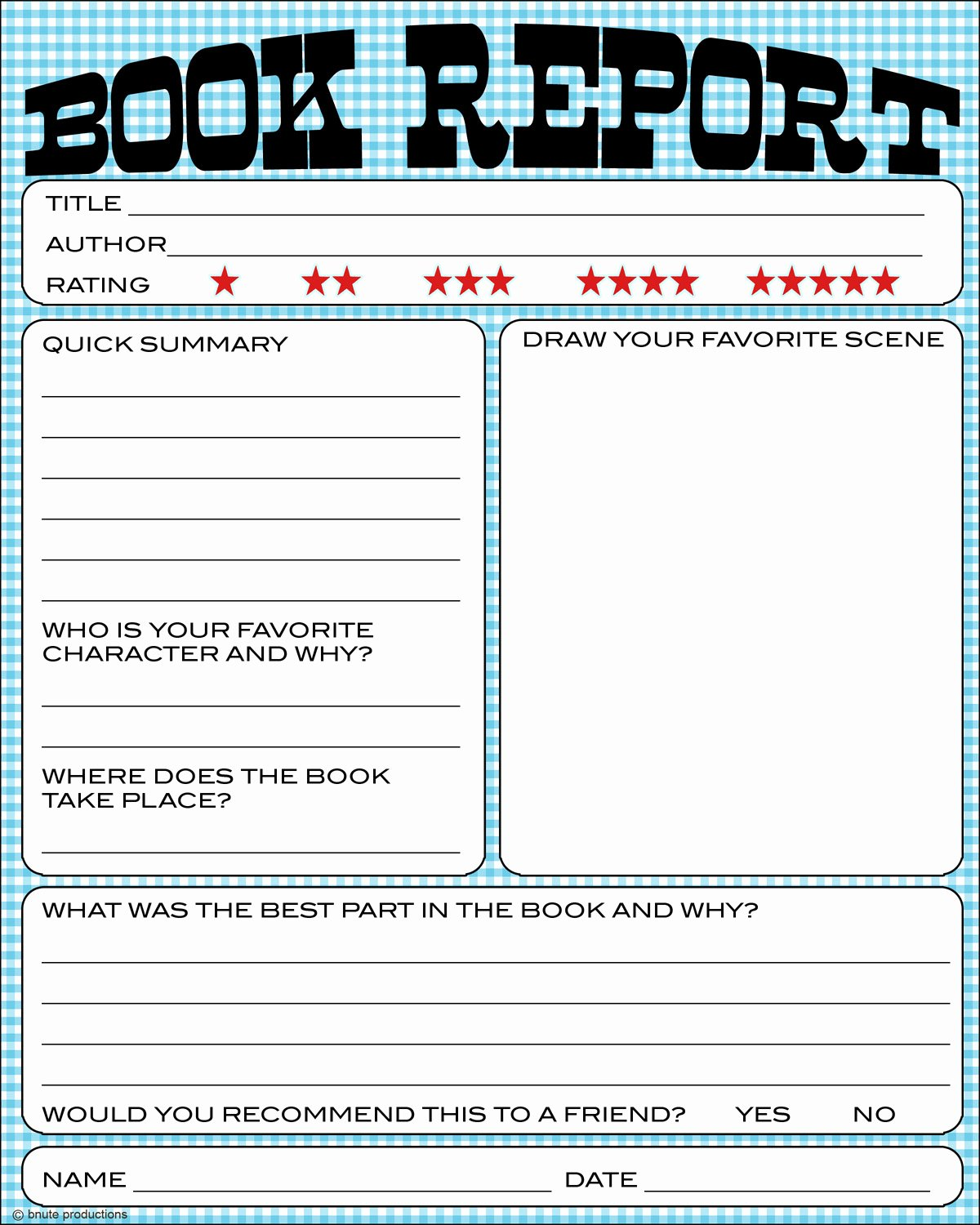 Free Book Report forms Fresh Bnute Productions Free Printable Kids Book Report Worksheet