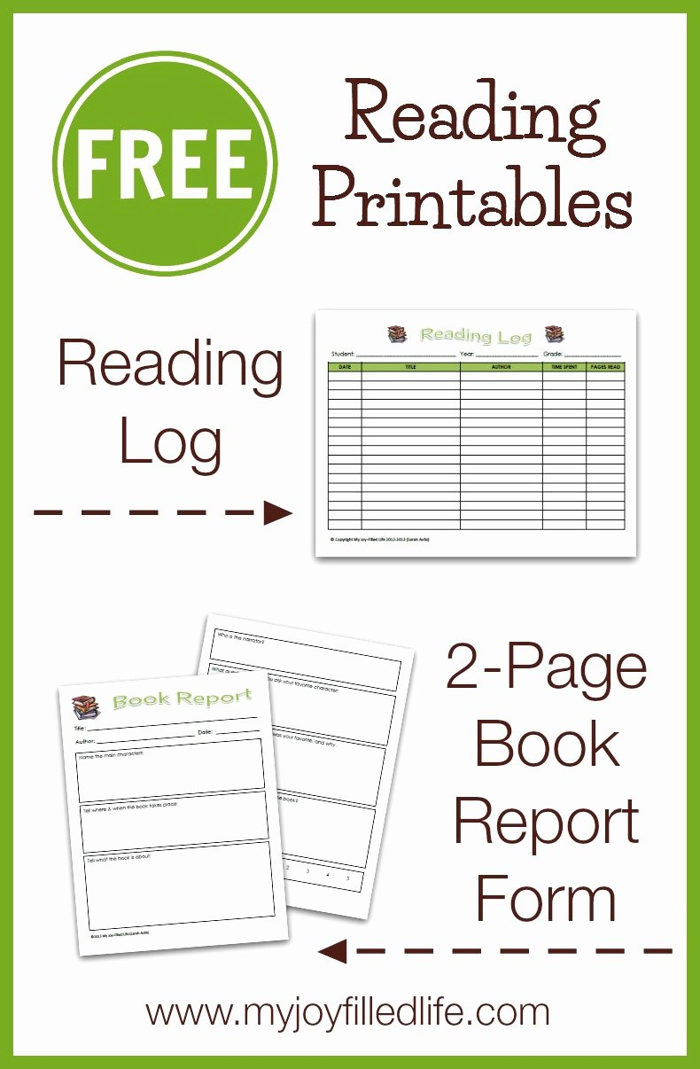 Free Book Report forms Fresh Free Reading Log & Book Report form My Joy Filled Life