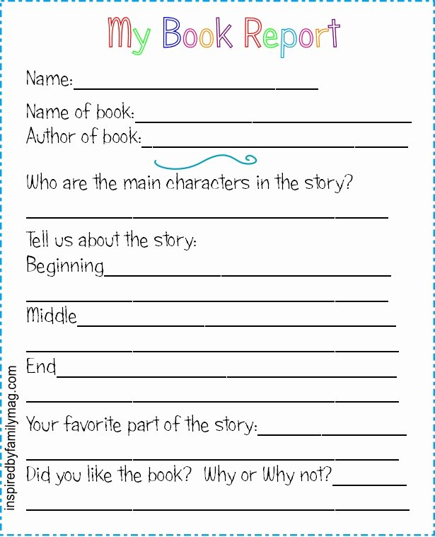 Free Book Report forms Fresh Printable Book Report forms Elementary Inspired by Family