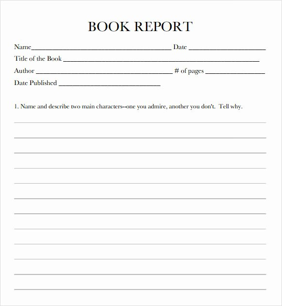 Free Book Report forms Inspirational 11 Book Report Templates Free Samples Examples format