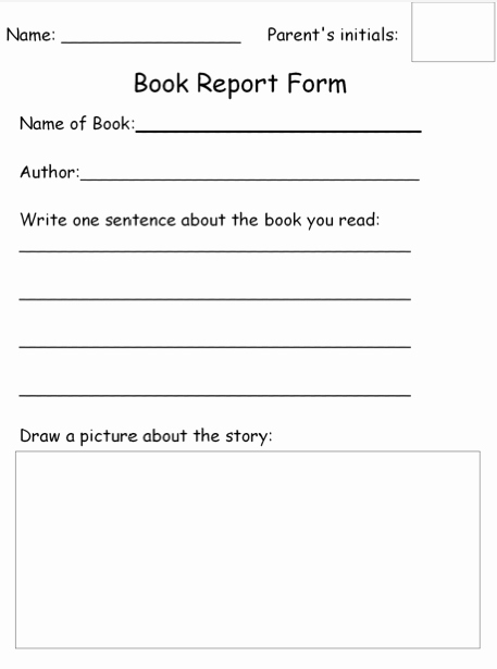 Free Book Report forms Inspirational Homework Book Report form Free the Autism Helper