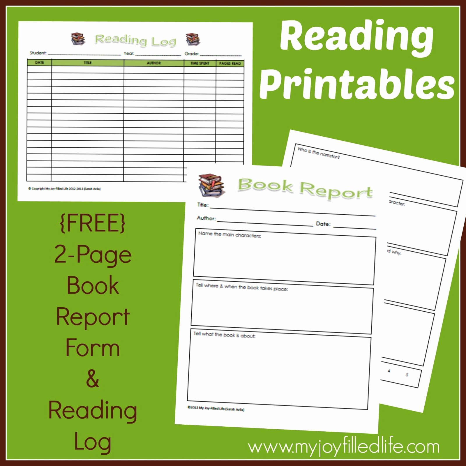 Free Book Report forms New Free Reading Log & Book Report form My Joy Filled Life