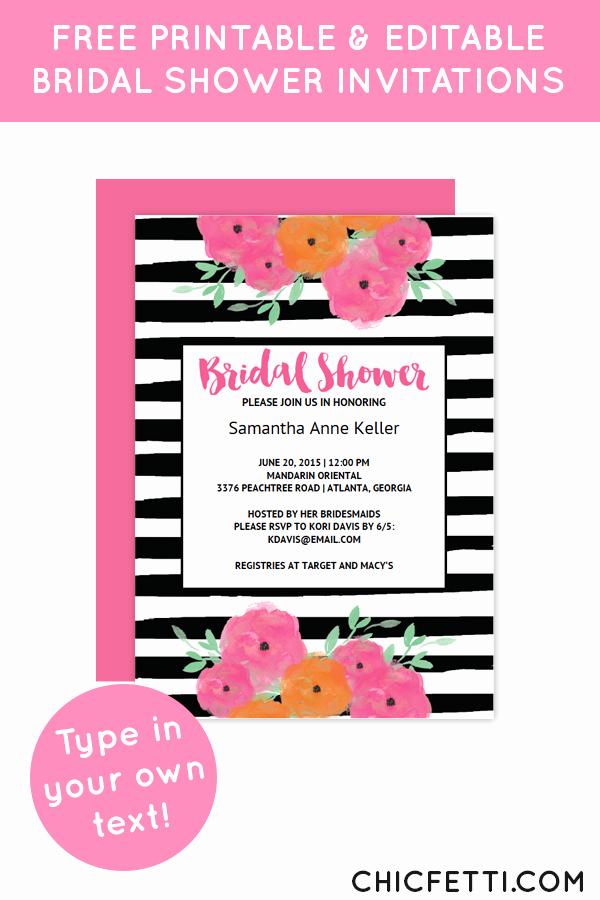 Free Bridal Shower Invitation Printables Lovely Free Printable Floral Bridal Shower Invitation Templates