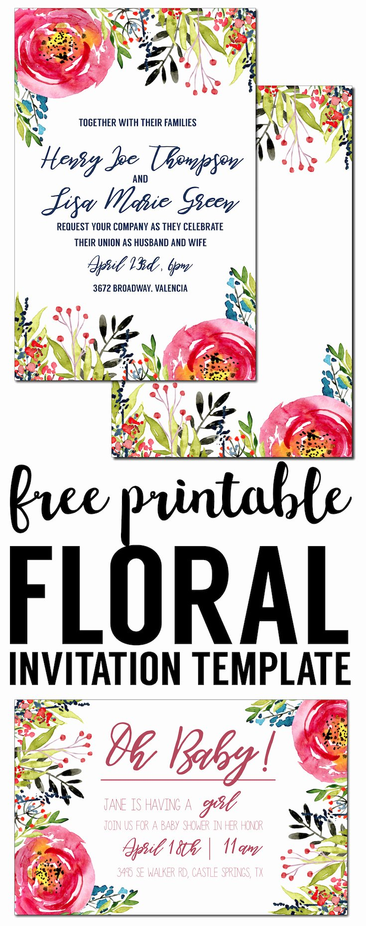 Free Bridal Shower Invitation Printables New Floral Invitation Template Free Printable Paper Trail