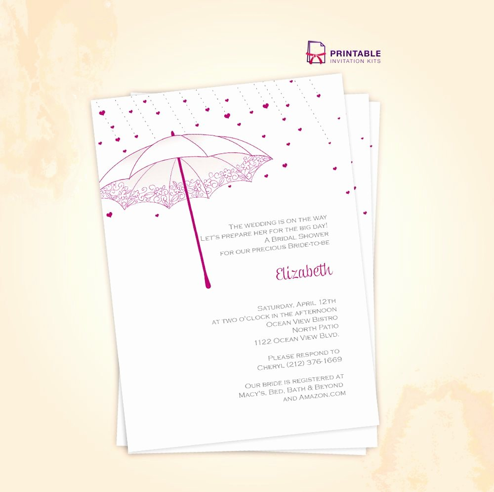 Free Bridal Shower Invitation Printables Unique Free Pdf Download Umbrella Bridal Shower Invite for