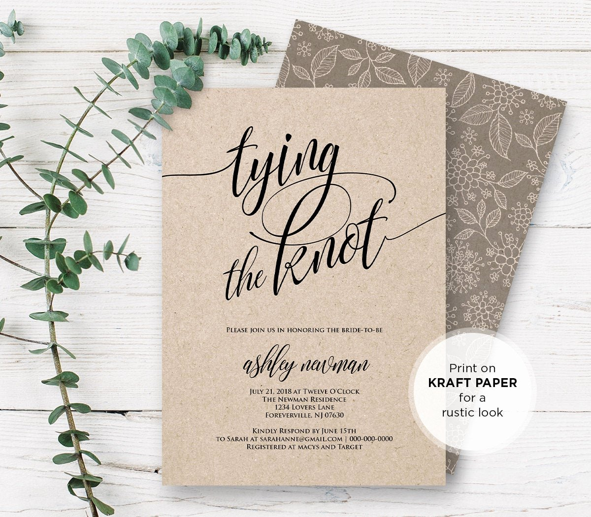 Free Bridal Shower Invitation Printables Unique Rustic Bridal Shower Invitation Printable Tying the Knot