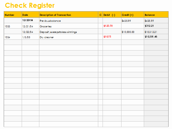 Free Check Register form Beautiful Checkbook Register Template