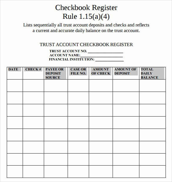 Free Check Register form Inspirational Check Register 9 Download Free Documents In Pdf