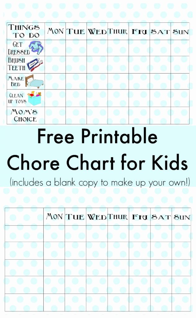 Free Chore Chart Printable Best Of Free Printable Chore Chart