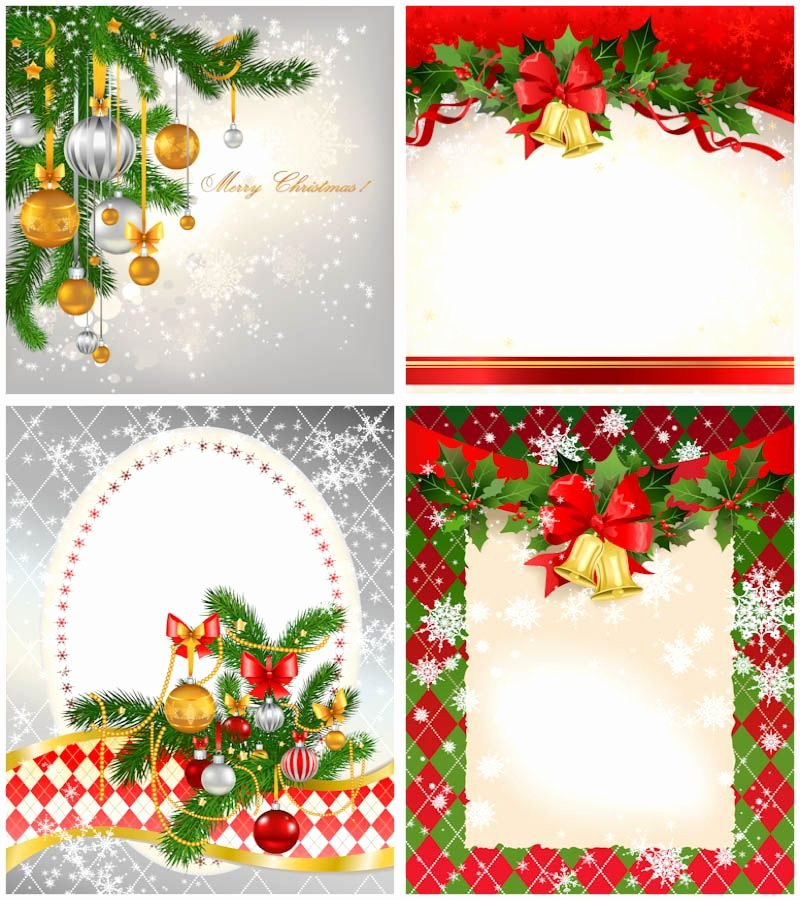 Free Christmas Photo Templates New 2012 Christmas Card Templates Vector Set Of 4 Beautiful