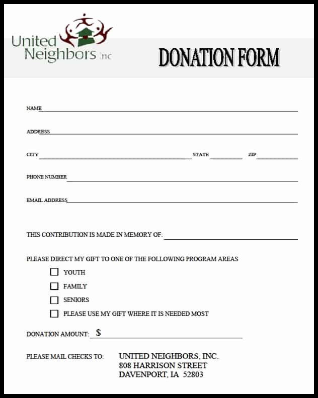Free Church forms Printable Lovely 36 Free Donation form Templates In Word Excel Pdf