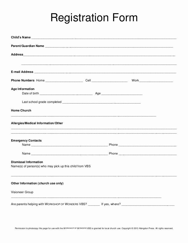 Free Church forms Printable Lovely Registration form Vbs