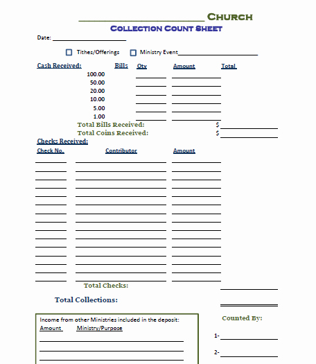 Free Church forms Printable Luxury Church Fering Counting form