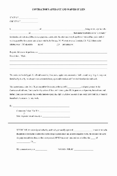 Free Church forms Printable Luxury Lien Waiver Pdf form Free Other