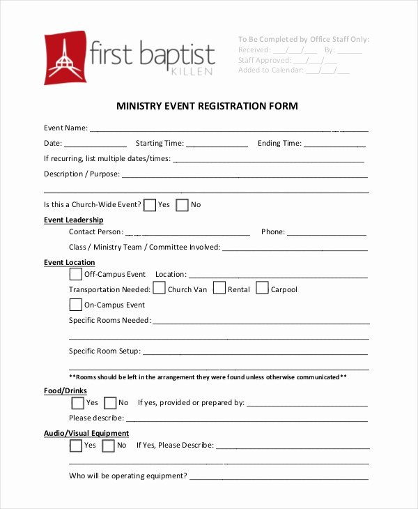 Free Church forms Printable New Free 12 Sample event Registration forms