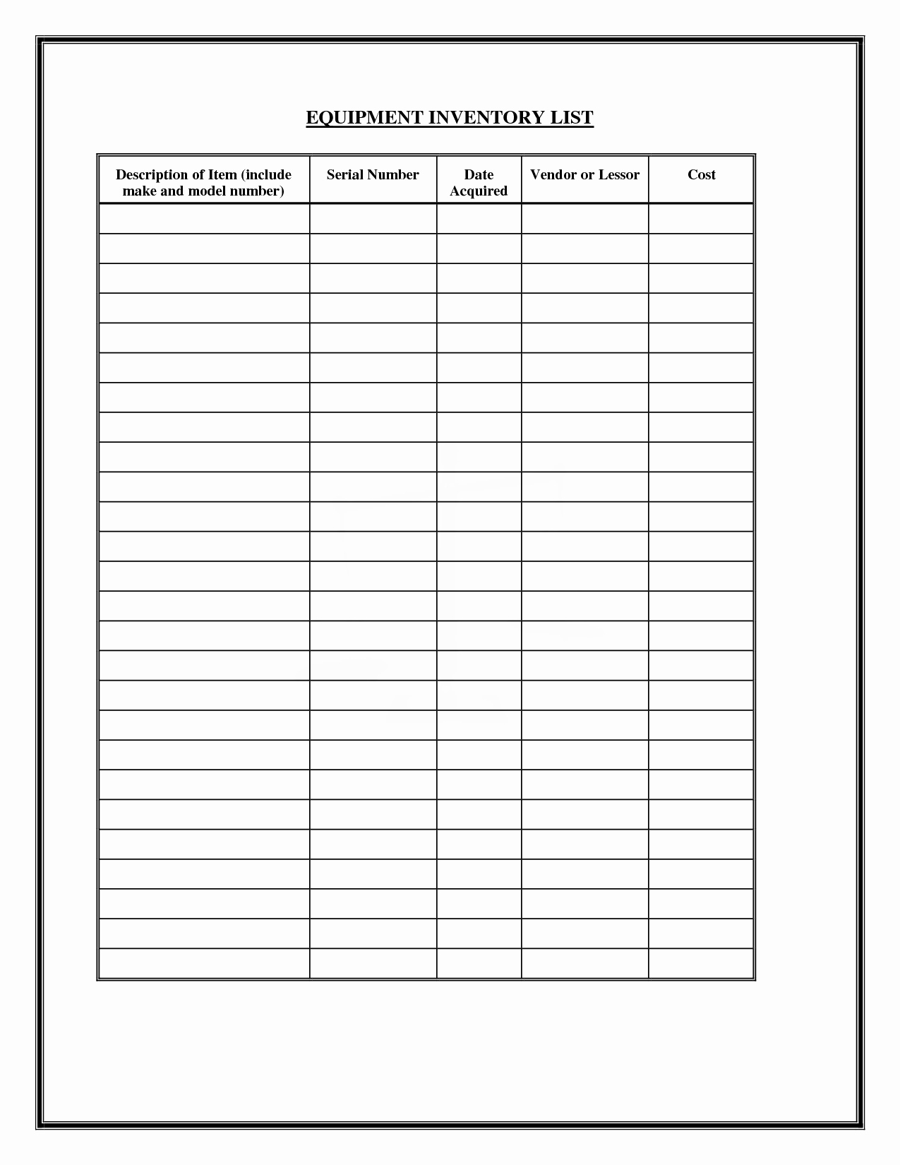 Free Church forms Printable New Free Inventory forms Downloads