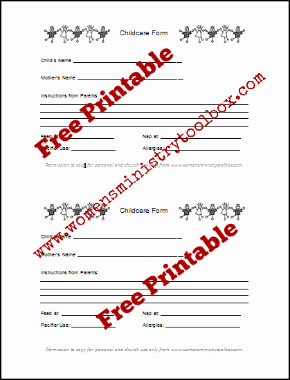 Free Church forms Printable New Tip 5 Childcare forms Free Printable Women S