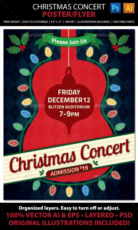 Free Concert Poster Templates Best Of Christmas Concert Music event Flyer or Poster