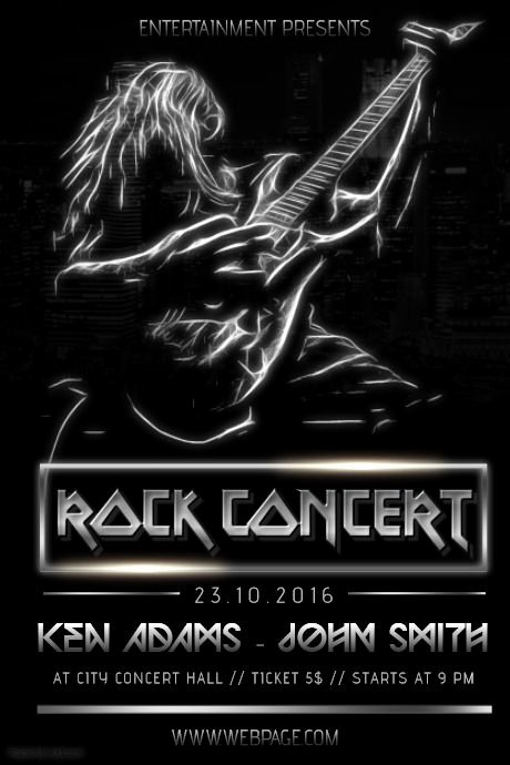 Free Concert Poster Templates Luxury Black Heavy Metal Rock Guitar Concert Poster Flyer