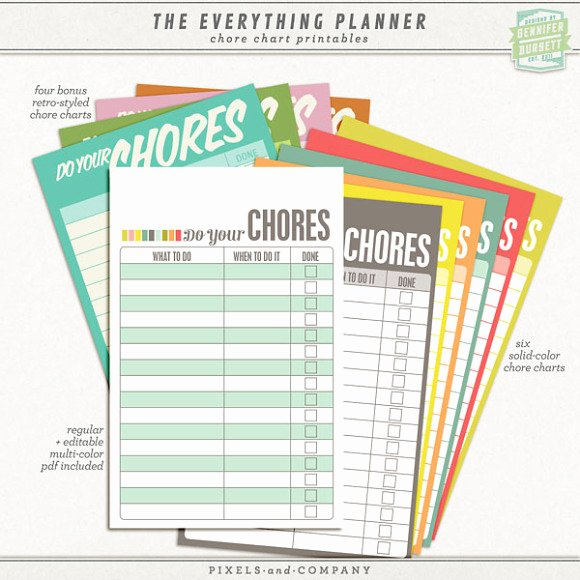 Free Customizable Chore Chart New the Everything Planner 2012 2013 Printables