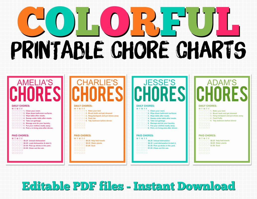 Free Customizable Chore Chart Unique Colorful Customizable Chore Chart Pack Instant Download