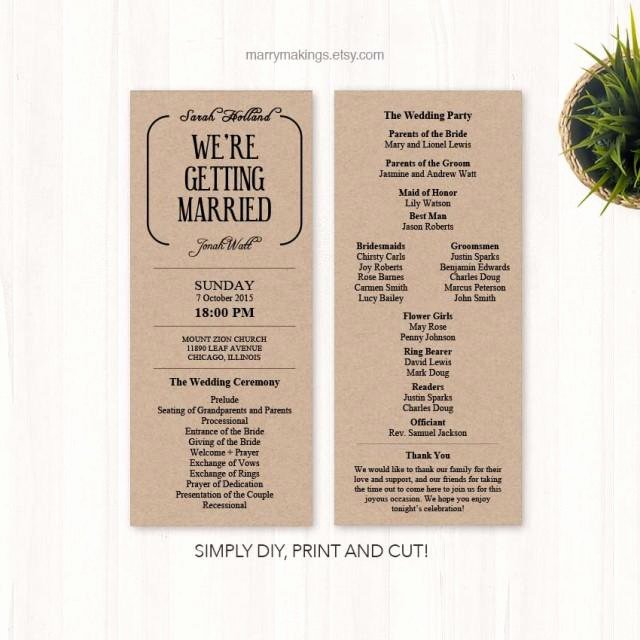 Free Diy Wedding Programs Templates Awesome Diy Wedding Program Wedding Programs Program Wedding