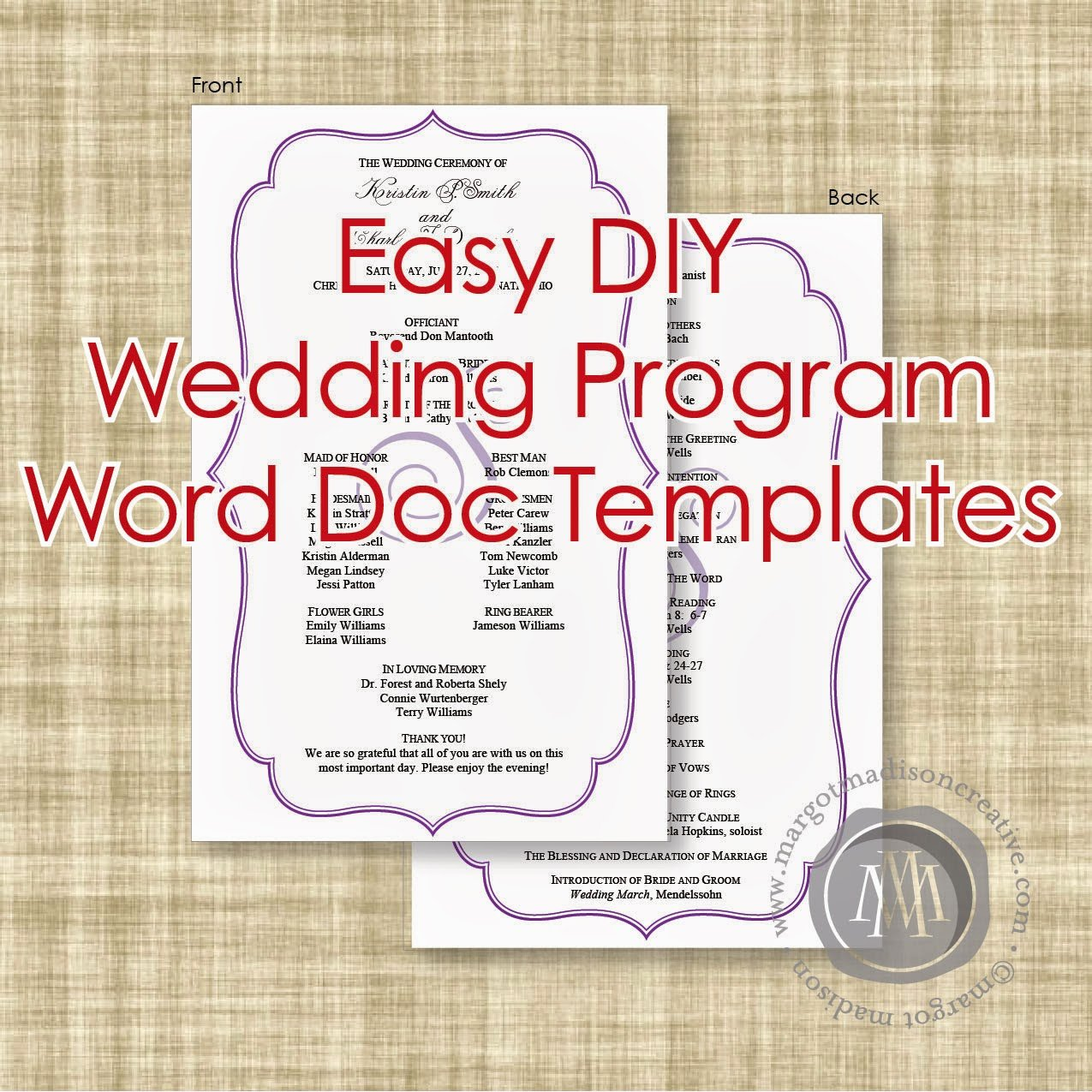 Free Diy Wedding Programs Templates Awesome Margotmadison Diy Wedding Program Word Doc Templates now