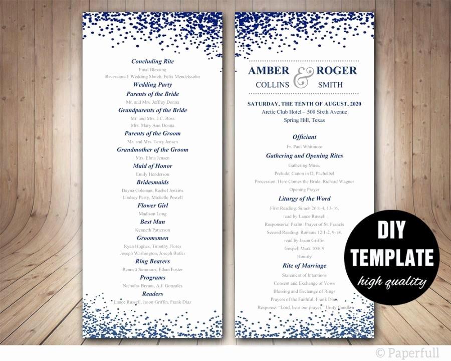 Free Diy Wedding Programs Templates Beautiful Modern Wedding Program Template Navy Blue Program Template