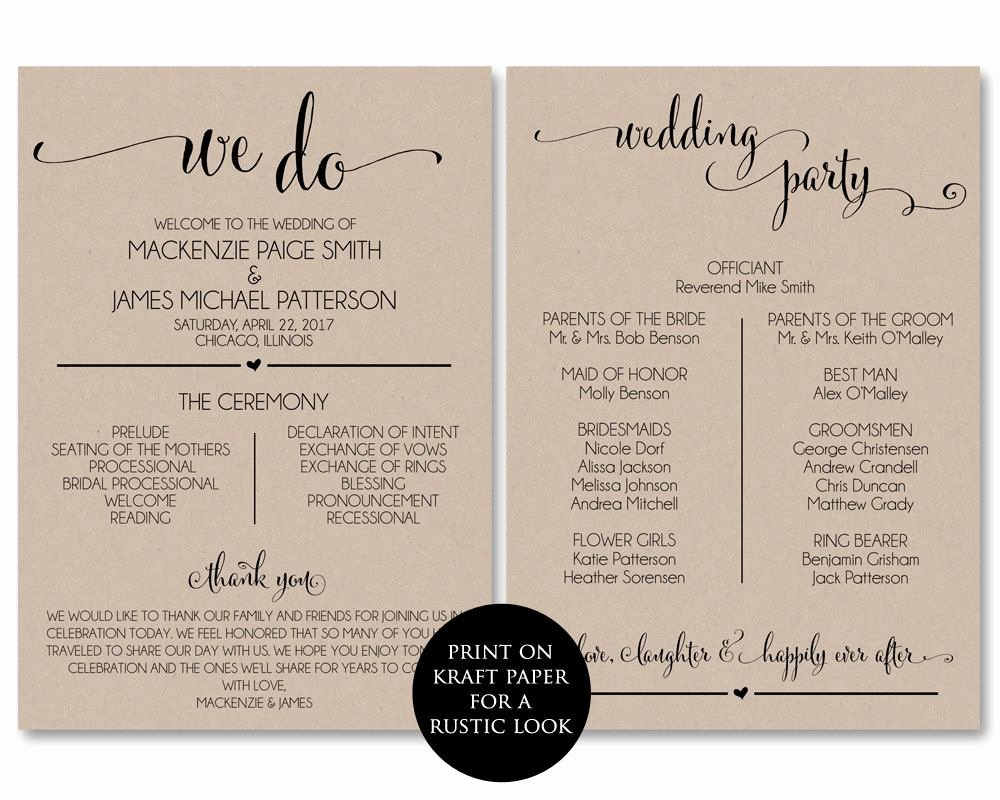 Free Diy Wedding Programs Templates Beautiful Wedding Program Template Wedding Program by Amodernsoiree