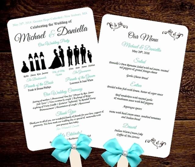 Free Diy Wedding Programs Templates Fresh Diy Silhouette Wedding Fan Program W Menu Printable