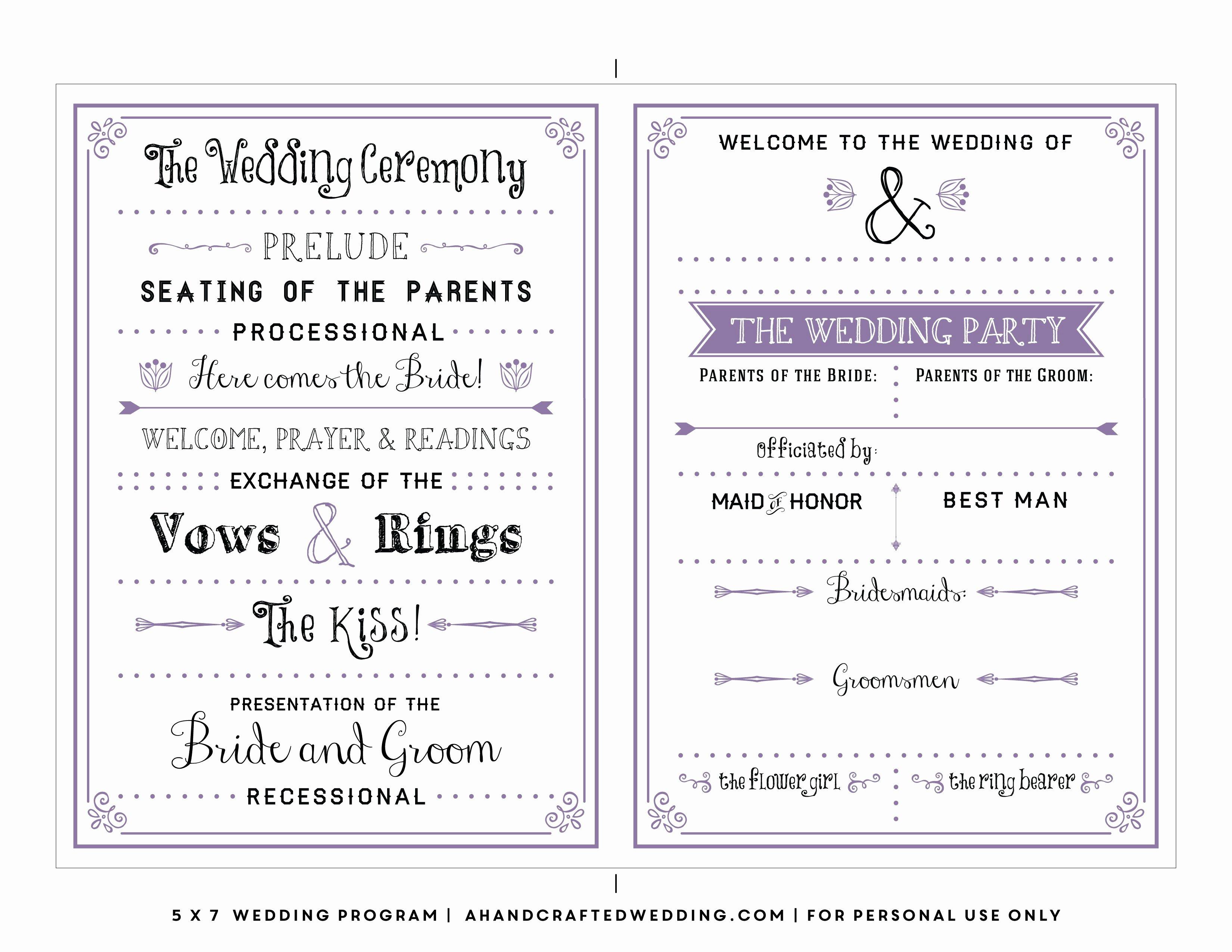 Free Diy Wedding Programs Templates Fresh Free Printable Wedding Program Templates