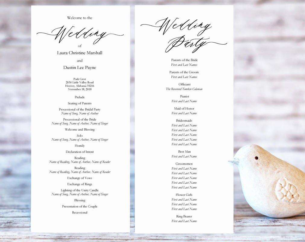Free Diy Wedding Programs Templates Fresh Wedding Ceremony Programs · Wedding Templates and Printables