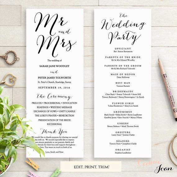 Free Diy Wedding Programs Templates Fresh Wedding Programs Instant Template Sweet Bomb
