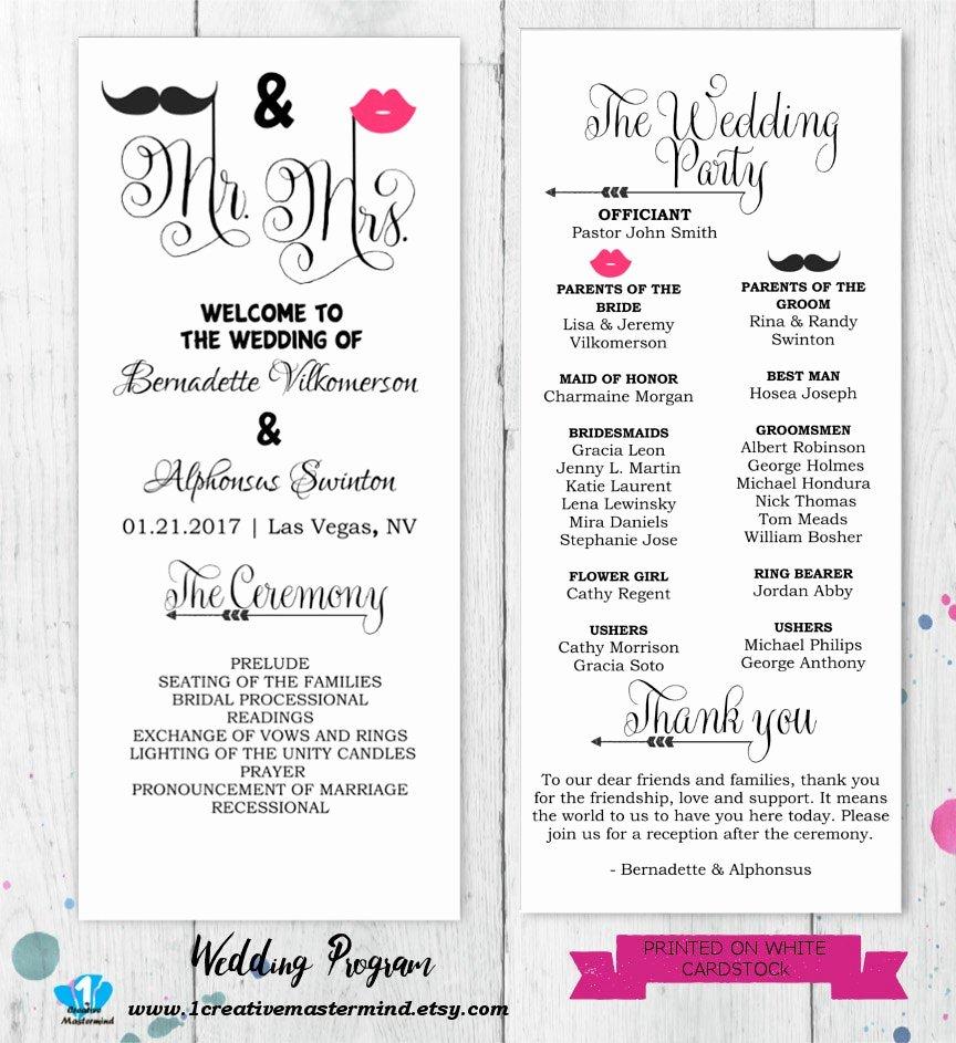Free Diy Wedding Programs Templates Inspirational Diy Fun Wedding Program Template Printable Editable Template
