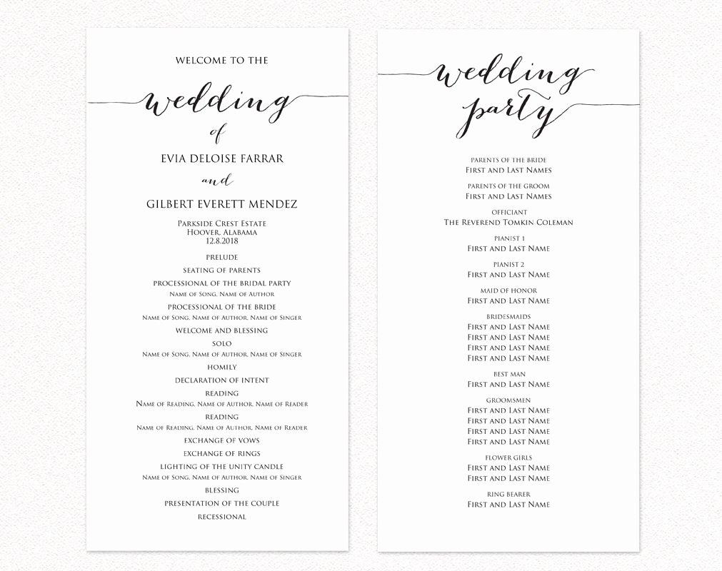 Free Diy Wedding Programs Templates Inspirational Wedding Program Two Templates Ceremony Program Template