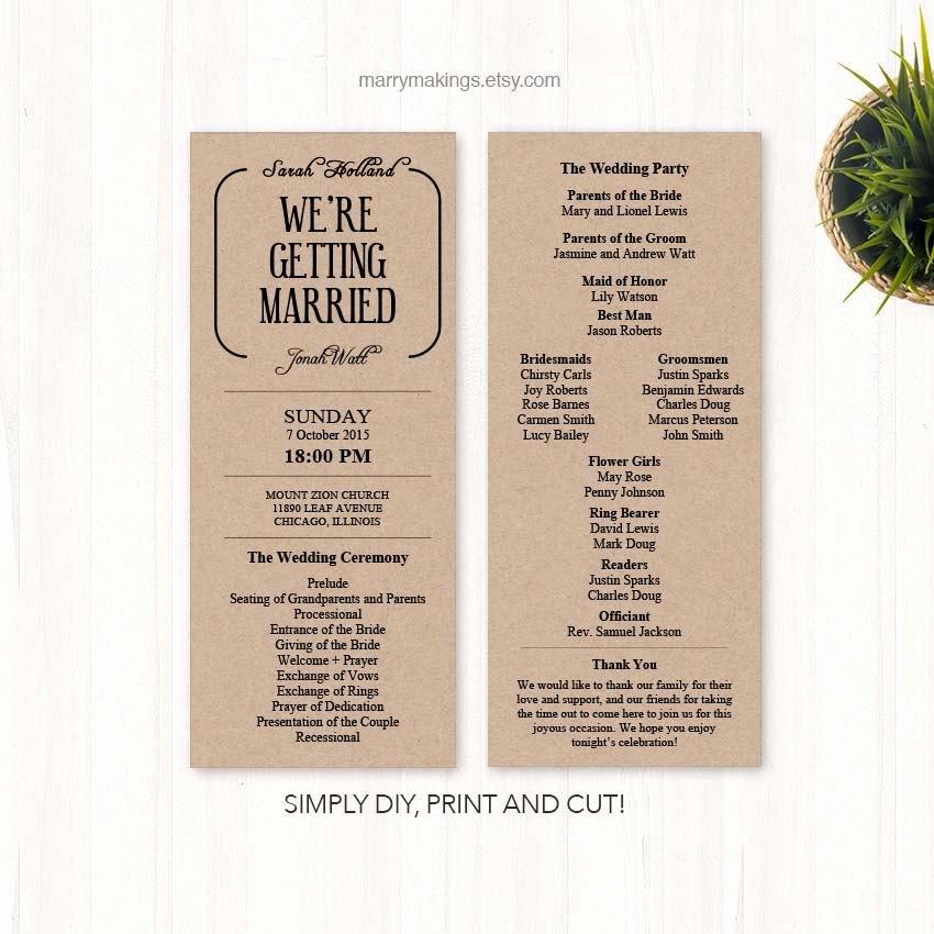 Free Diy Wedding Programs Templates Unique Diy Wedding Program Wedding Programs Program Wedding