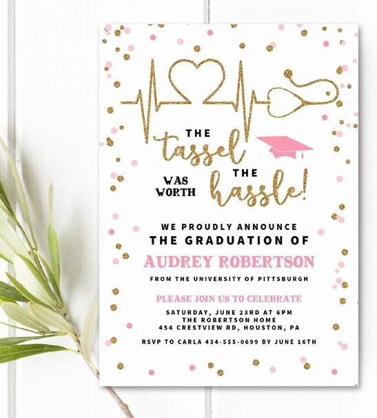 Free Downloadable Graduation Invitations Inspirational Free Editable Nurse Graduation Invitation Template
