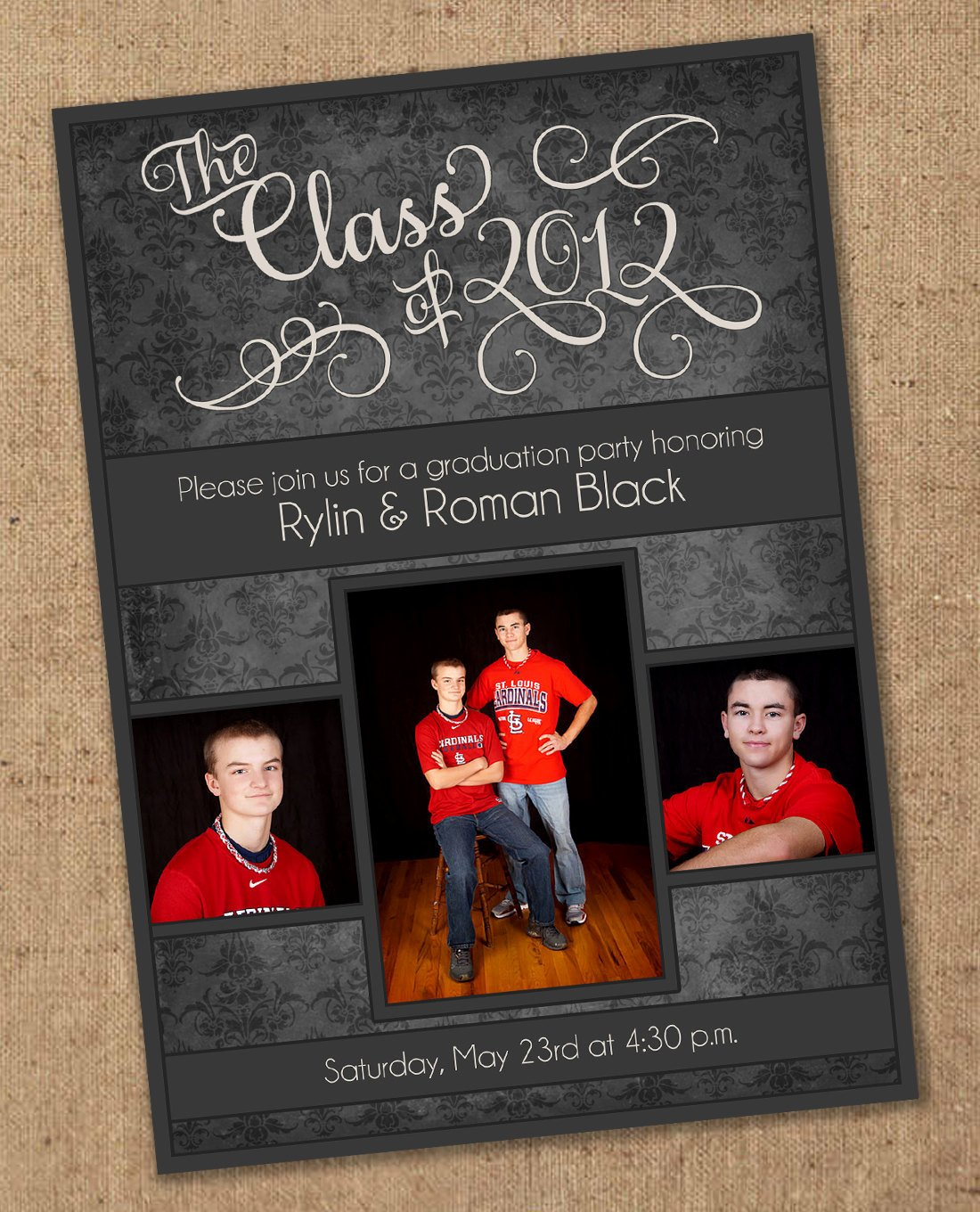 Free Downloadable Graduation Invitations Luxury Damask Graduation Party Invitation Printable Color