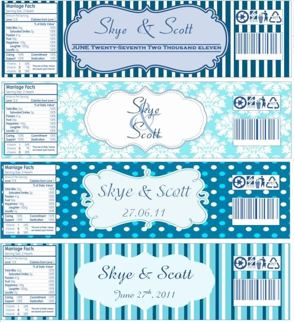 Free Downloadable Water Bottle Labels Best Of Water Bottle Labels now with Templates Wedding Blue