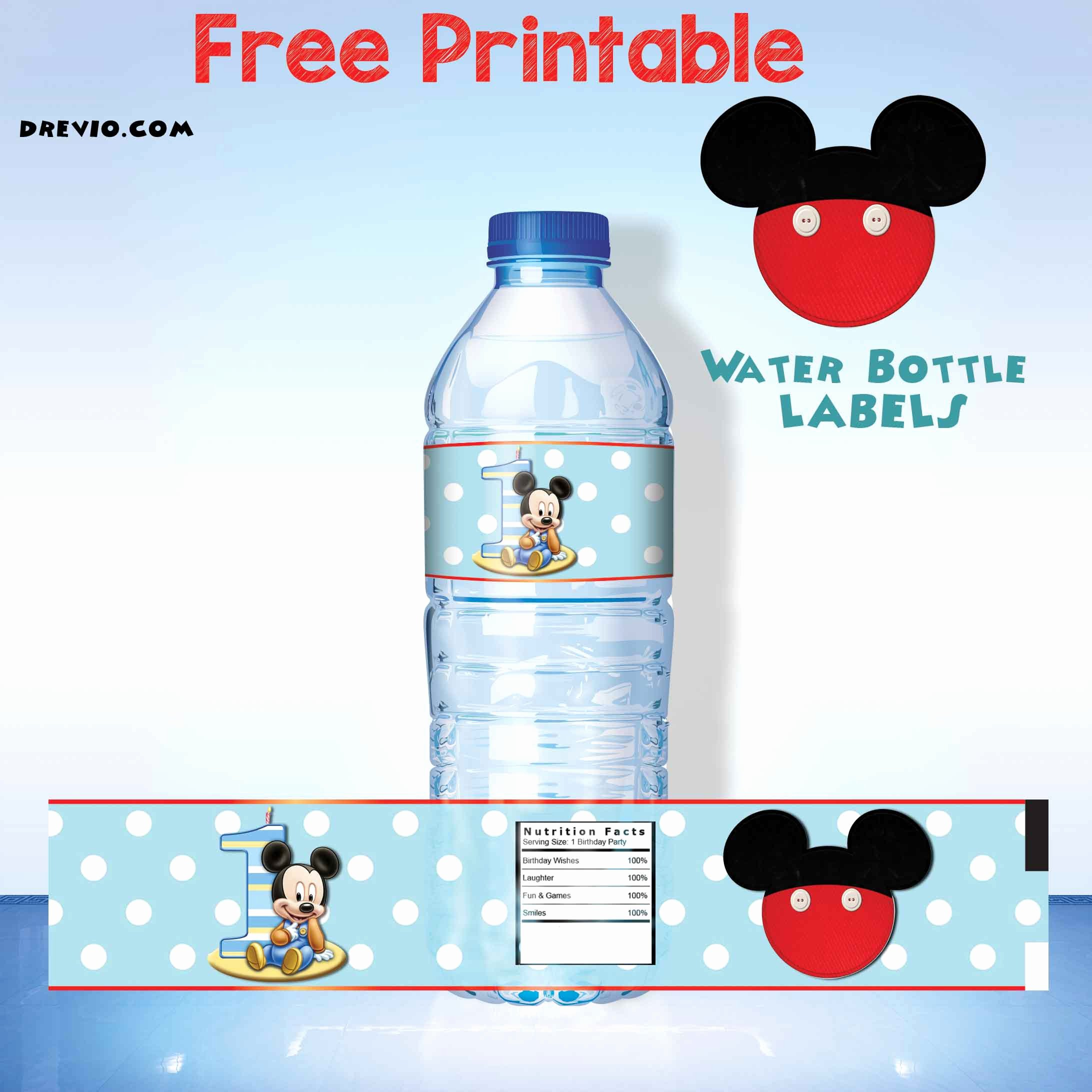 Free Downloadable Water Bottle Labels Elegant Free Mickey Mouse Clubhouse 1st Birthday Invitations