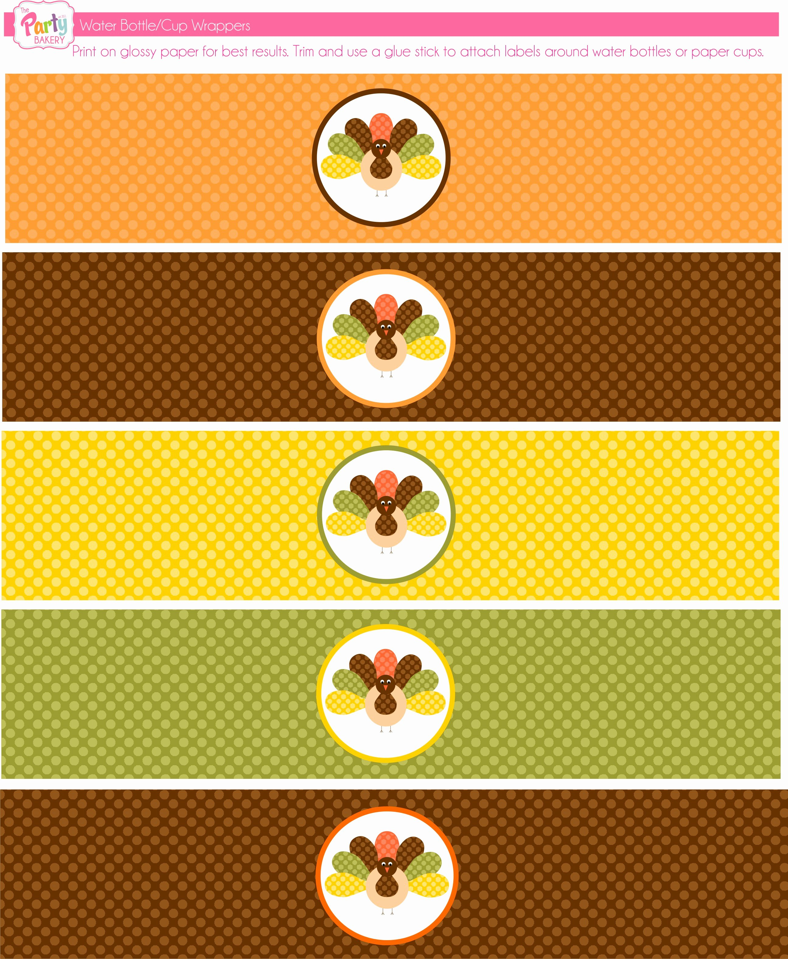 Free Downloadable Water Bottle Labels Elegant Free Thanksgiving Printables From the Party Bakery